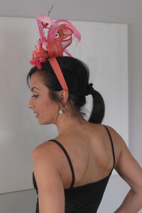Multi-Shade Pink and Salmon Rose Fascinator Derby Hat