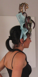 Aqua and Chocolate Brown Fascinator Derby Hat
