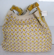 COACH 14498 LTD PEYTON WOVEN LEATHER HOBO YELLOW TAN NWT