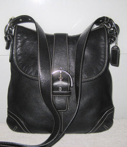 COACH 9480 BLACK LEATHER SOHO BUCKLE FLAP SHOULDER BAG CROSSBODY