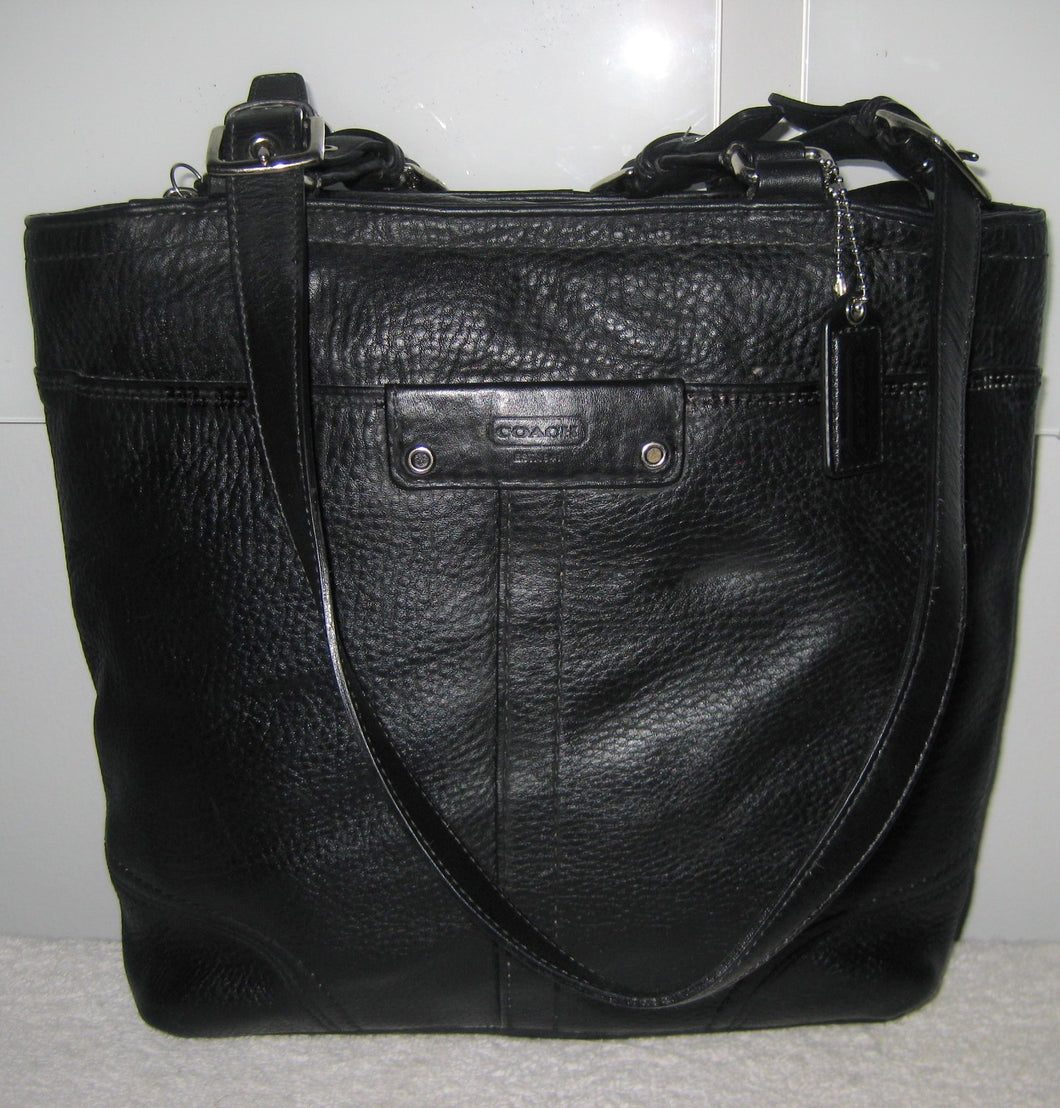 COACH 13089 BLACK LEATHER HAMILTON SHOULDER TOTE BAG