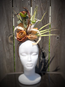 Natural Ivory Feather and Floral Fascinator Derby Hat