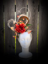 Orange Magnolia Feather and Floral Fascinator Derby Hat