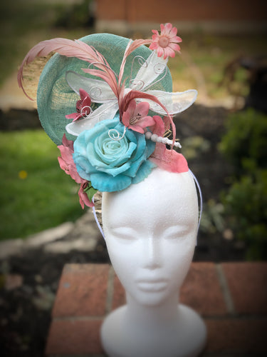 Aqua, Blush Pink, and White Butterfly Fascinator Derby Hat