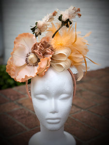 Peach Large Magnolia Ivory Fascinator Derby Hat