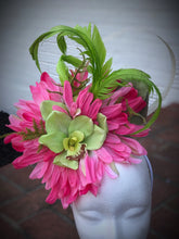 Pink and Lime Green Large Fascinator Derby Hat