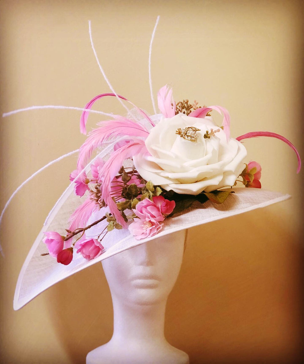 Large White Fascinator with Pink Accents Derby Hat