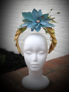 Blue and Yellow Floral Double Halo Crown Style Fascinator Derby Hat