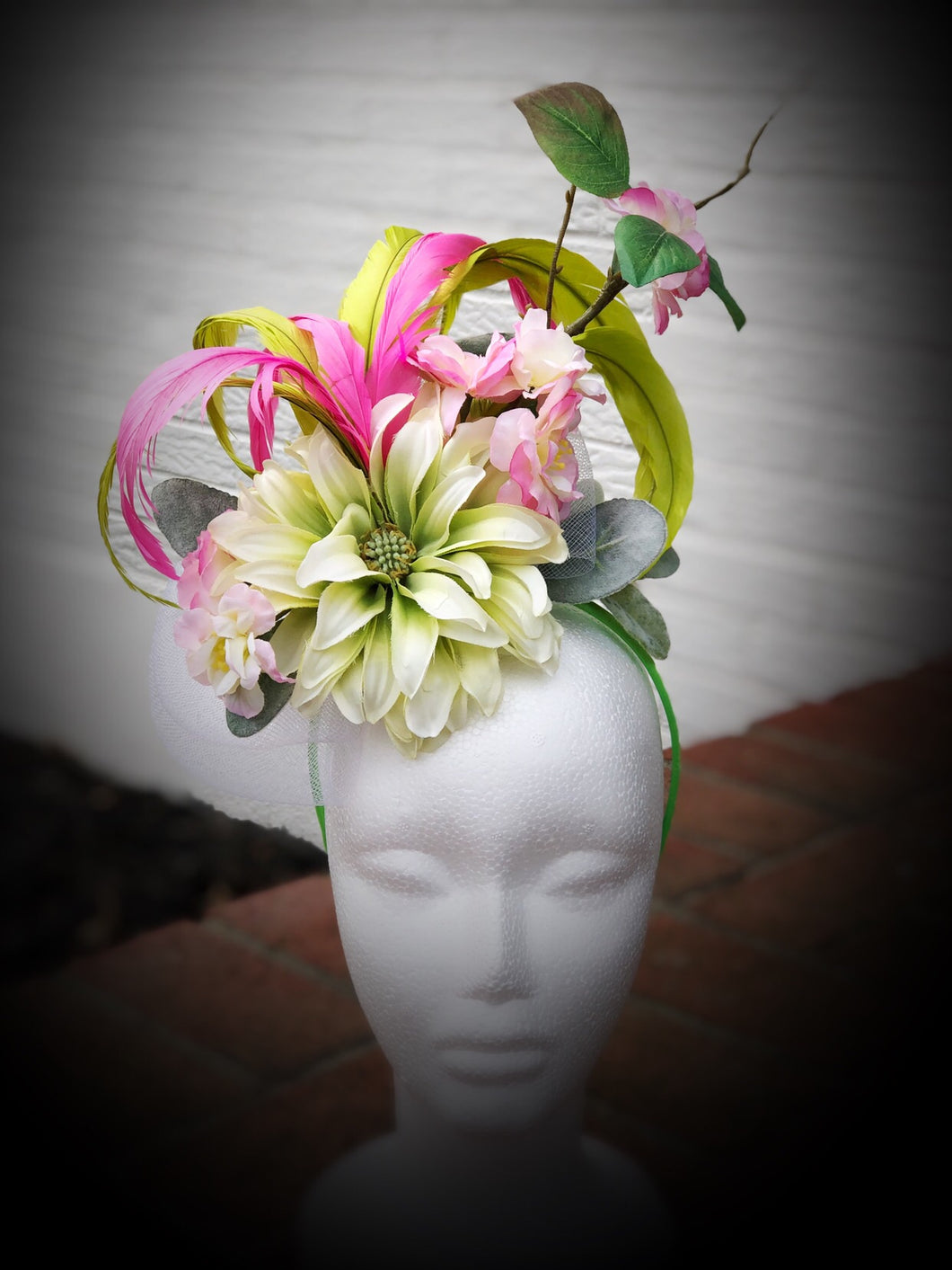 Lime Green and Pink Fascinator Derby Hat