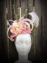 Pink Off White Rose, Lily and Hydrangea Feather and Floral Fascinator
