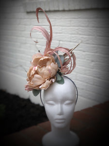 Dusty Pink and Ivory Flowers and Feathers Fascinator Derby Hat