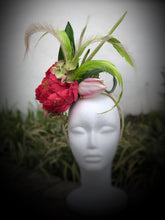 Hot Pink and Lime Green Peony and Tulip Fascinator Derby Hat