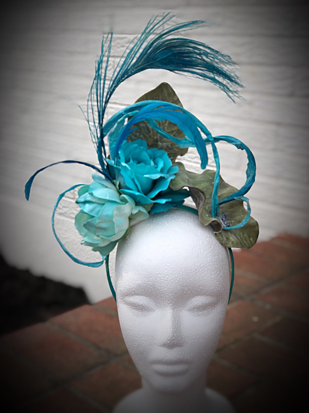 Turquoise Floral Butterfly Brooch Fascinator