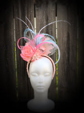 Pink Rose and Blue Floral and Feather Fascinator Derby Hat