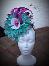 Turquoise White and purple Large Fascinator Derby Hat