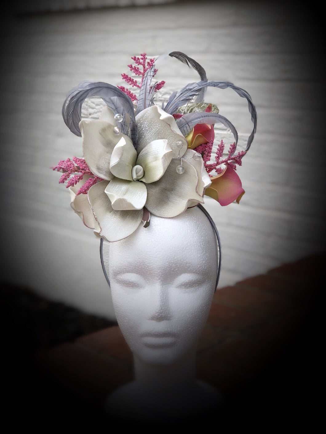 White Silver and Pink Fascinator Derby Hat