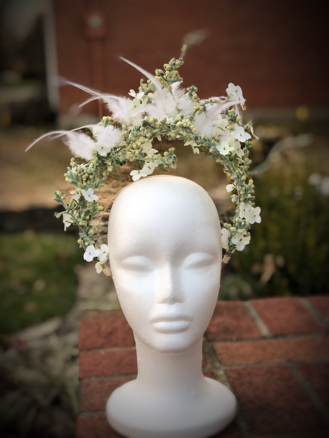 White Double Halo Crown Style Fascinator Derby Hat Bridal
