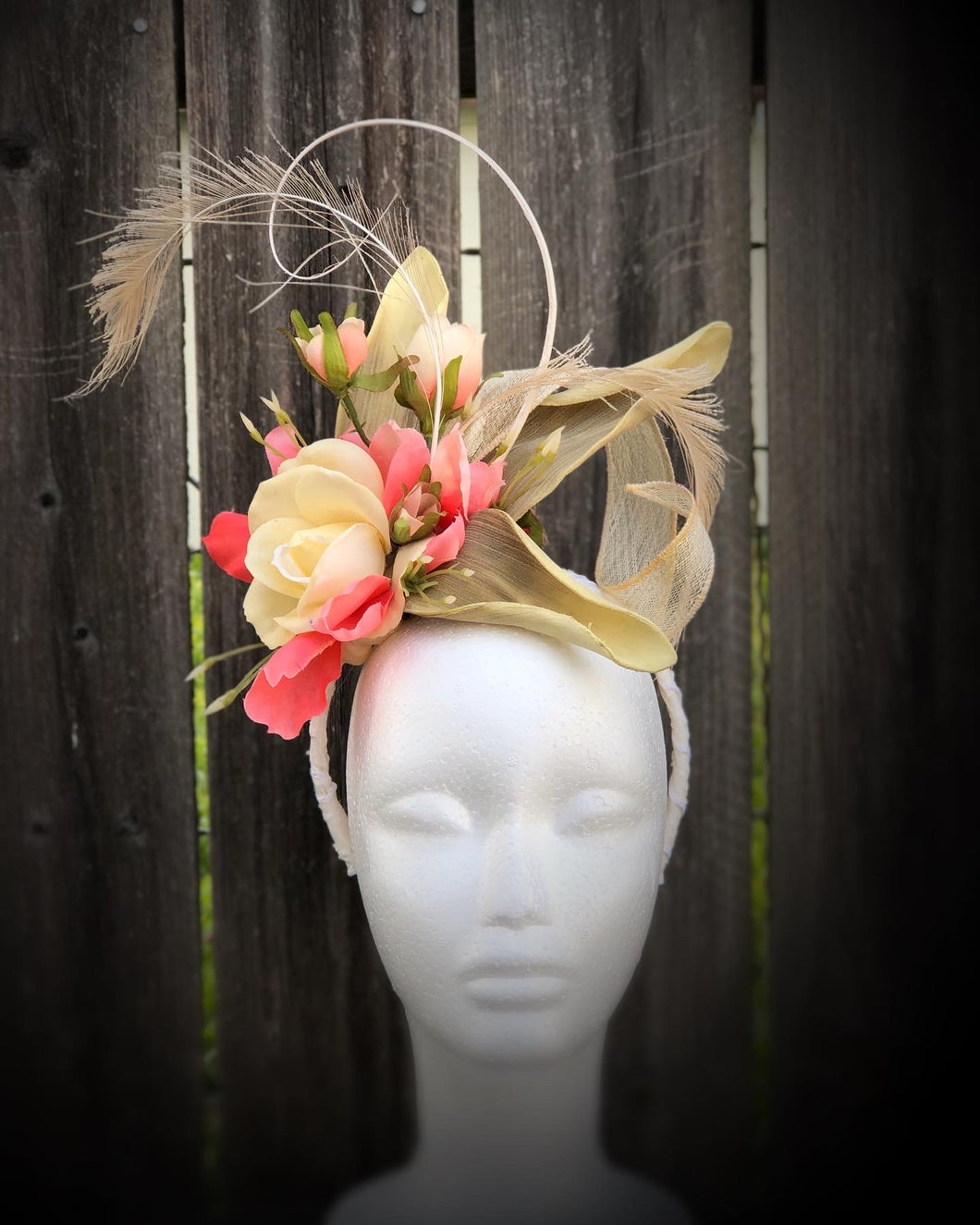 Ivory Coral Floral and Feather Fascinator Derby Hat