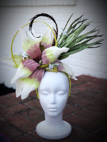 White, Lime Green, Pink Large Fascinator Derby Hat