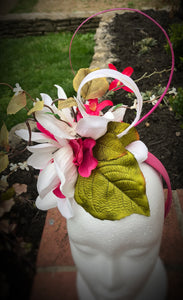 Bright Pink and White Derby Hat Fascinator