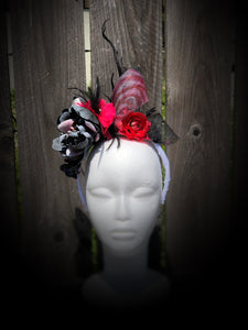 Hot Pink Floral, Black Sinamay and White Floral and Feather Fascinator Derby Hat