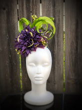 Purple and Lime Green Feather and Floral Fascinator