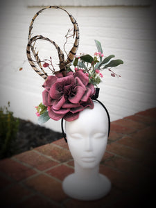 Coral Pink Large Fascinator Derby Hat