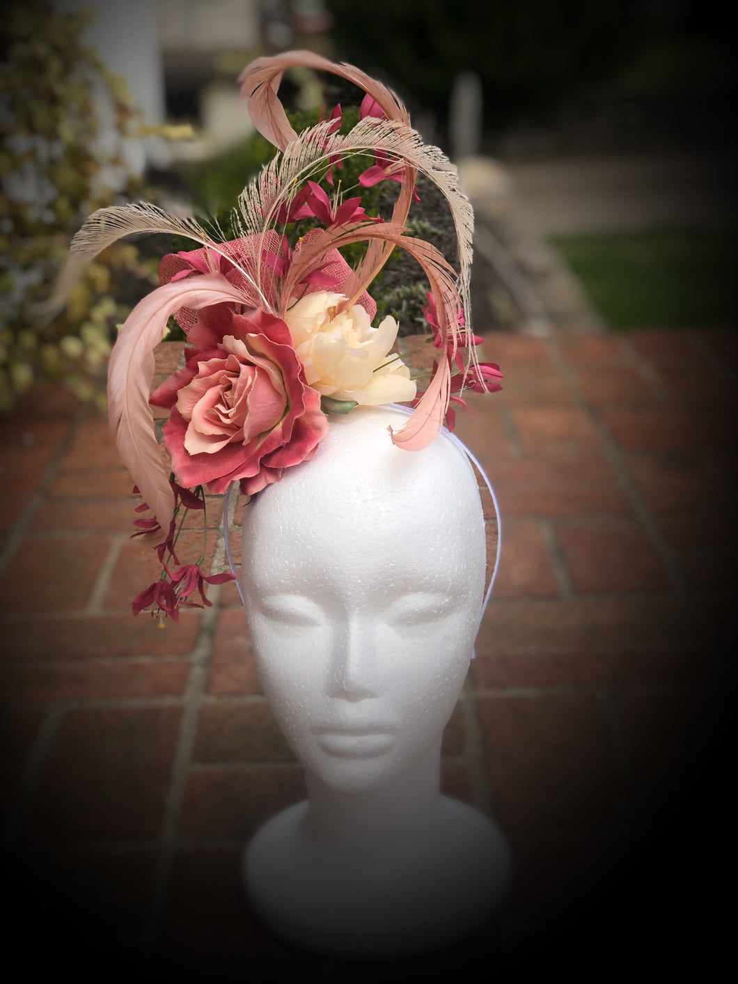 Ivory, Blush Pink and Berry Floral Feather Fascinator Derby Hat