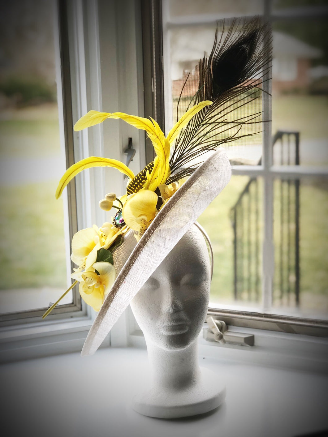 White and Yellow Throwback Fascinator Derby Hat Fascinator