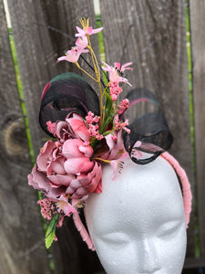 Pink Floral and Black Sinamay Floral and Feather Fascinator Derby Hat
