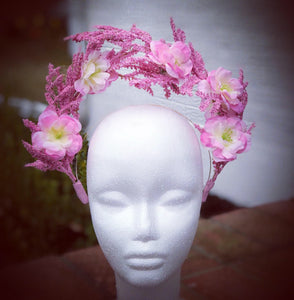 Pink Double Halo Crown Style Fascinator Derby Hat