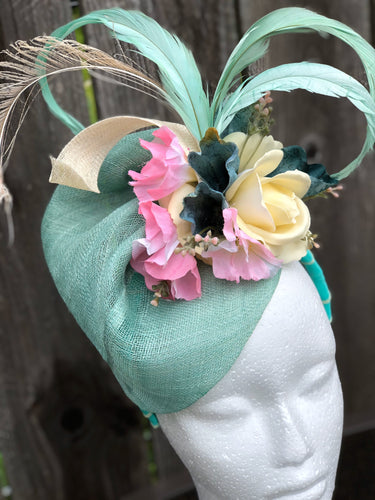 Aqua Ivory and Pink Sinamay Floral and Feather Fascinator Derby Hat