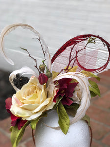 Ivory Rose and Deep Red Fascinator Derby Hat