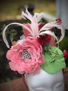Pink and Lime Floral Feather Fascinator