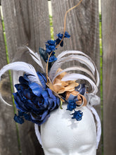 Navy Beige and Gray Floral and Feather Fascinator Derby Hat