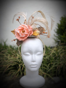 Coral Rose and Ivory Fascinator Derby Hat