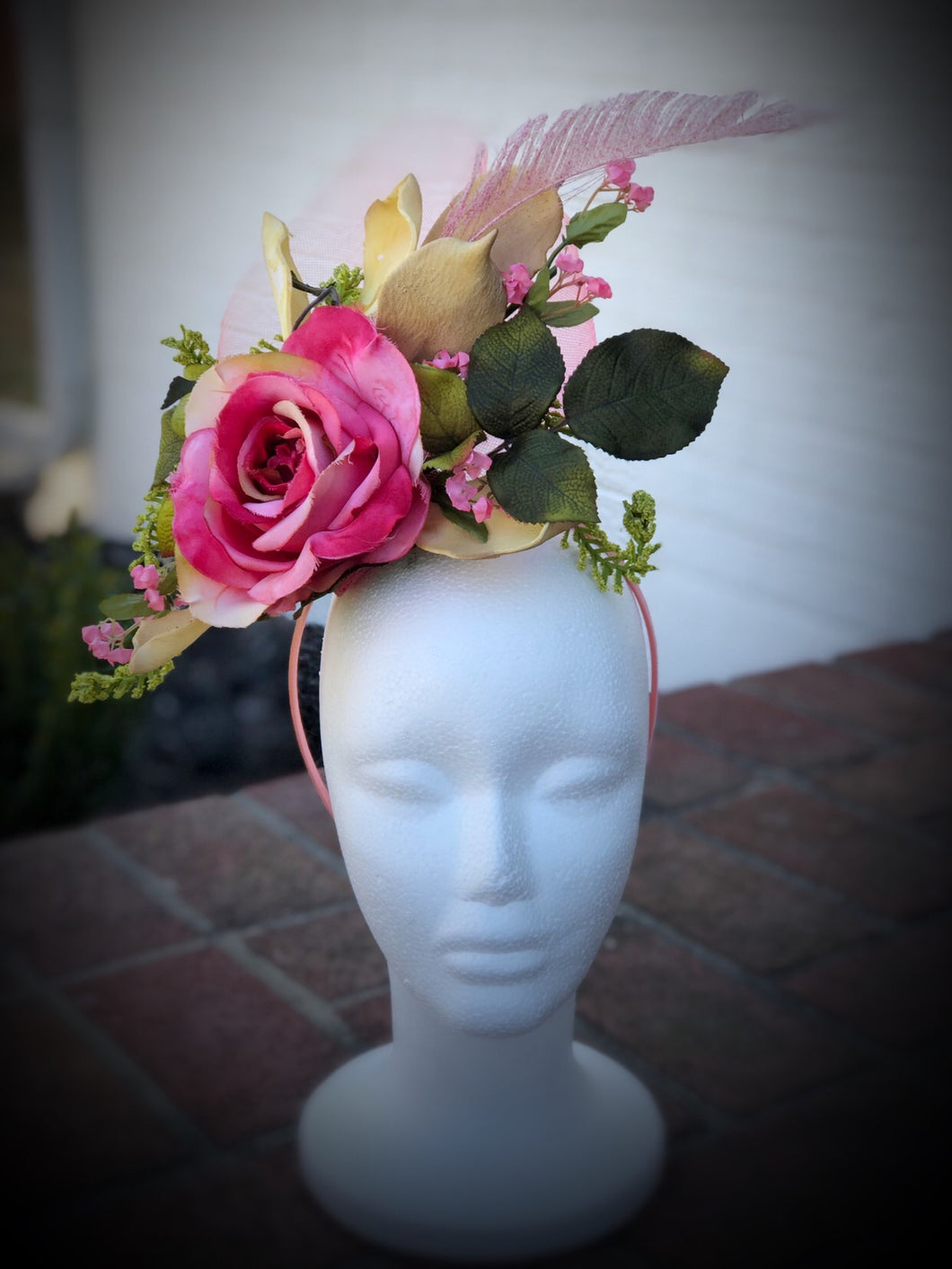 Butter Yellow and Pink Rose Fascinator Derby Hat