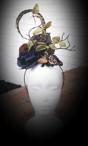 Black Rose Animal Print Fascinator Derby Hat