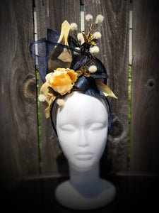 Navy and Ivory Sinamay Floral Fascinator Derby Hat