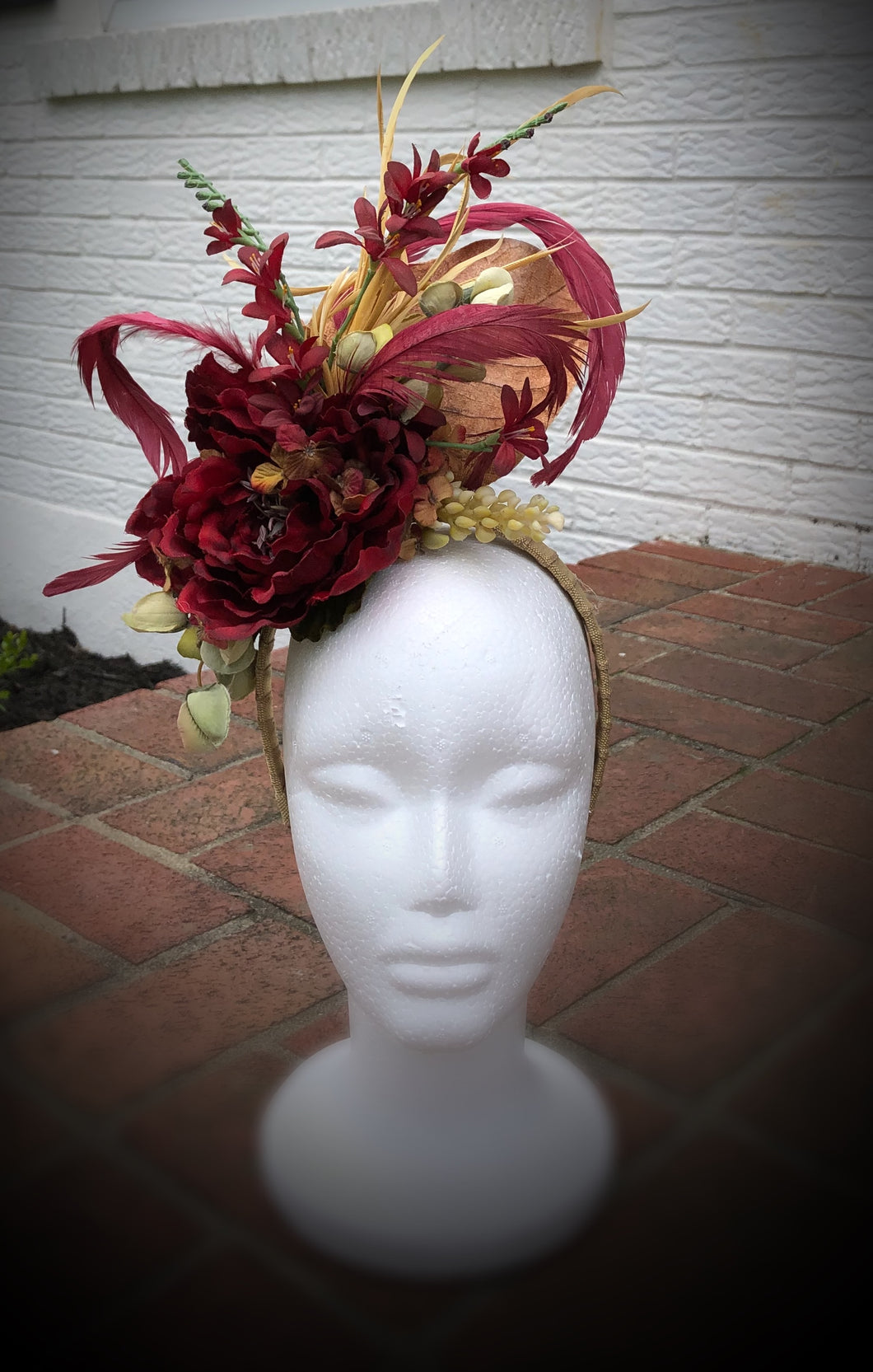 Deep Red and Buttery Yellow Feather and Floral Fascinator