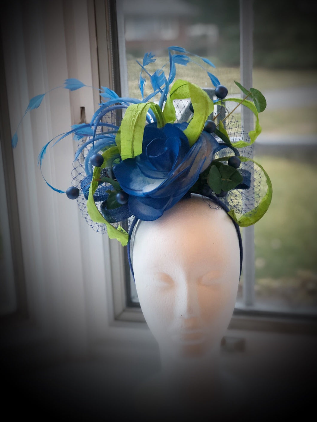 Royal Blue Lime Green Fascinator Derby Hat
