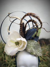 Navy Abstract Circle Magnolia Fascinator Derby Hat