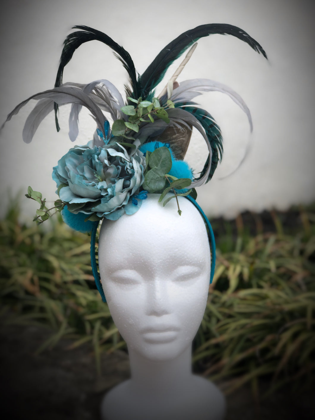 Turquoise Gray Floral Feather Fascinator