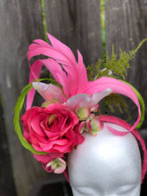 Hot Pink and Lime Green Rose Lily and Hydrangeas Fascinator Derby Hat