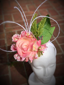 Pink Soft Yellow and Floral Feather Fascinator