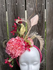 Multi Shade Pink Floral and Feather Fascinator Derby Hat