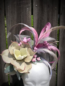 Lavender and Silver Fascinator Derby Hat