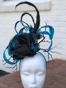 Turquoise and Black Butterfly Fascinator Derby Hat