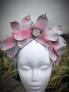 Aqua and Pink Pearl Crown Style Fascinator Derby