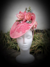 Pink Rose Embroidery Fascinator Derby Hat